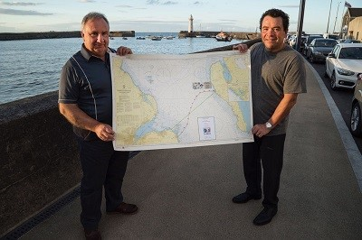 With Quinton Nelson, holding the map of the swim